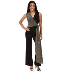 Tahari By Arthur S. Levine Petite Stretch Crepe Jumpsuit With Metallic Wrap Detail Black Gold Women's Jumpsuit And Rompers One Piece