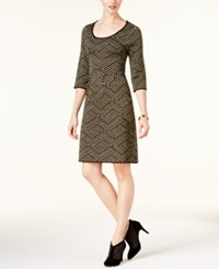 Ny Collection Petite Printed Fit And Flare Sweater Dress Pauline