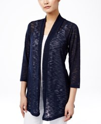 Jm Collection Lace Back Open Front Cardigan Only At Macy's Intrepid Blue