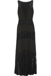 Bailey 44 Rowllane Paneled Lace And Crepe Maxi Dress Black