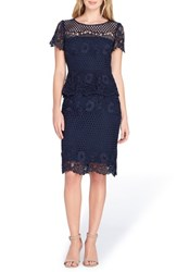 Tahari Lace Peplum Sheath Dress Navy