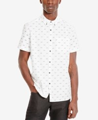 Kenneth Cole Reaction Men's Bicycle Print Short Sleeve Shirt White Combo