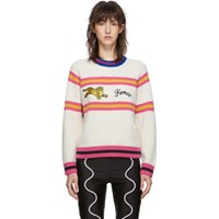 Kenzo Off White Wool Jumping Tiger Crewneck Sweater