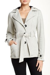 Sebby Belted Speckled Fleece Jacket Gray