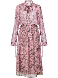 Cedric Charlier Floral Print Layered Dress Pink And Purple
