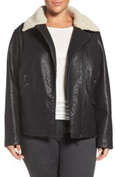 Steve Madden Plus Size Women's Faux Leather Moto Jacket With Faux Shearling Collar