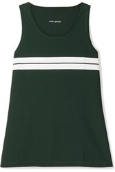 Tory Sport Striped Stretch Mesh Tank Forest Green