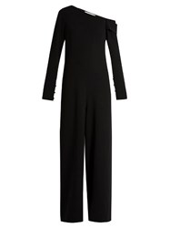 Tibi One Shoulder Wide Leg Crepe Jumpsuit Black
