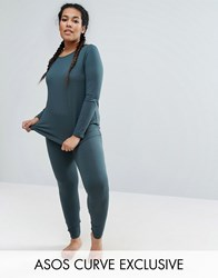 Asos Curve Lounge 2 Pack Long Sleeve Tunic Top And Legging Fern Green