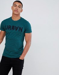 Solid T Shirt With Flocked Print In Teal Teal 3680 Green