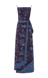 Zac Posen Floral Printed Gown Blue