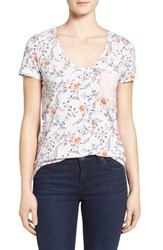 Caslonr Women's Caslon Relaxed Slub Knit U Neck Tee Ivory Orange Floral