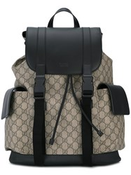 Gucci Logo Print Backpack Men Leather Canvas Microfibre One Size Nude Neutrals