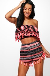 Boohoo Jemima Tribal Print Tassel Beach Co Ord Set Pink