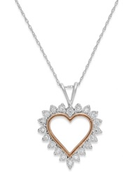 Macy's Diamond Heart Pendant Necklace In 10K White Gold And Pink Rhodium 1 10 Ct. T.W.