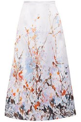 Merchant Archive Printed Duchesse Satin Midi Skirt White