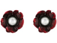 Oscar De La Renta Flower Pearl Button C Earrings Ruby