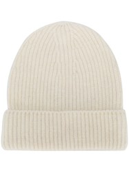 Closed Ribbed Beanie Hat White