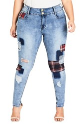 City Chic Plus Size Patch 'N Check Skinny Jeans Denim