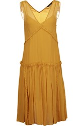 Marissa Webb Ruched Pleated Silk Gauze Dress Saffron