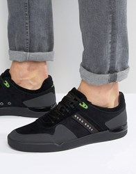 Hugo Boss Green By Green Feather Suede Trainers Black