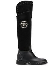 Philipp Plein High Star Studded Boots Black