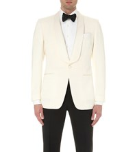 Tom Ford Single Breasted Wool And Mohair Blend Jacket White