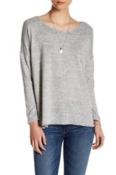 Hip Twist Back Long Sleeve Blouse Gray
