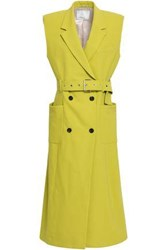3.1 Phillip Lim Woman Double Breasted Cotton Blend Crepe Gilet Lime Green