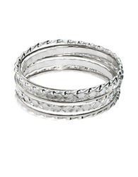 Robert Rose Twisted And Textured Bangle Set Silver