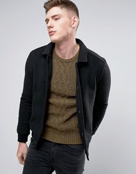 Native Youth Knitted Bomber With Canvas Collar Black