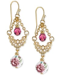 2028 Gold Tone Floral Image And Purple Bead Filigree Chandelier Earrings