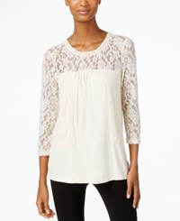 Cable And Gauge Lace Knit Peasant Top Kelp