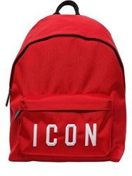 Dsquared Icon Patches Nylon Canvas Backpack Red White