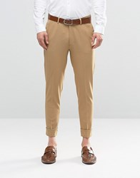 Asos Super Skinny Trousers In Stone Jersey With Turn Up Stone