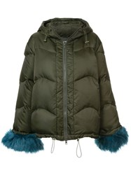 Stine Goya Faux Fur Trim Jacket Green