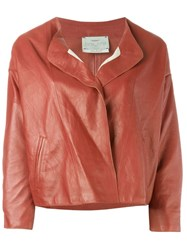 Forte Forte Collarless Leather Jacket Red