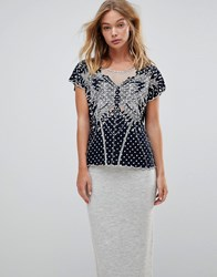 Sugarhill Boutique Butterfly Cutwork Embroidered Top Polka Dot Navy Cream Multi
