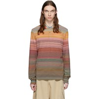 Missoni Orange And Multicolor Striped Long Sleeve Polo