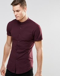Asos Skinny Shirt In Burgundy Jersey With Grandad Collar And Short Sleeves Burgundy Red