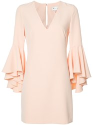 Milly Frill Sleeve Shift Dress Pink Purple