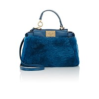 Fendi Women's Peekaboo Micro Shearling Satchel Blue