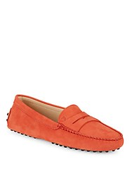 Tod's Gommini Leather Penny Loafers Red
