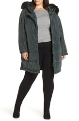 Lost Ink Plus Size Faux Fur Trim Quilted Parka Green