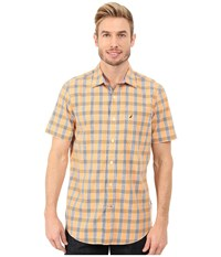 Nautica Short Sleeve Medium Plaid Sun Coast Orange Men's Short Sleeve Button Up Olive