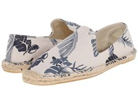 Soludos Smoking Slipper Print Tropical Print Natural Blue Men's Slippers White