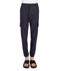 Kenzo Cotton Linen Cargo Jogger Pants Navy Men's