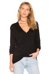 27 Miles Malibu Bale Boyfriend V Neck Sweater Black