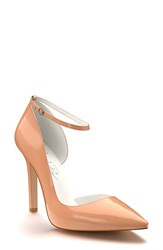Shoes Of Prey Women's Ankle Strap D'orsay Pump Nude Patent