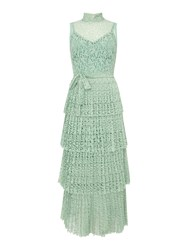 Body Frock Lace Maxi Dress With Short Sleeves Green
